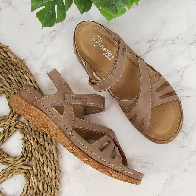 Sandały skórzane damskie na rzep beżowe Helios 256