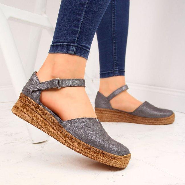 Sandały skórzane damskie na rzep szare Helios 345