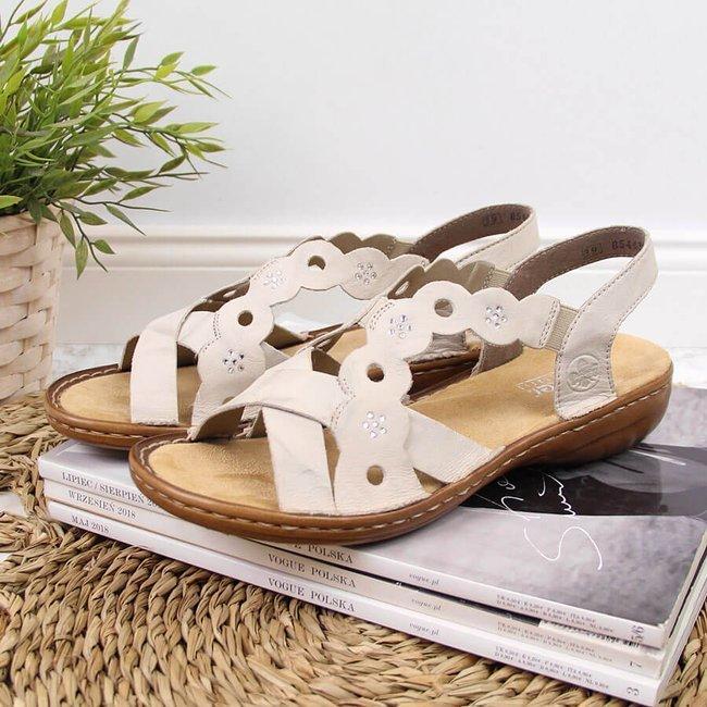 Sandały skórzane damskie rzymianki beżowe Rieker 60865