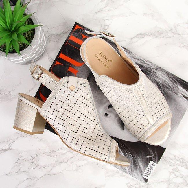 Sandały skórzane zabudowane złote Juma