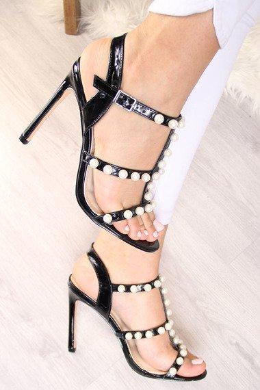 Sandały szpilki z perełkami czarne Sergio Todzi