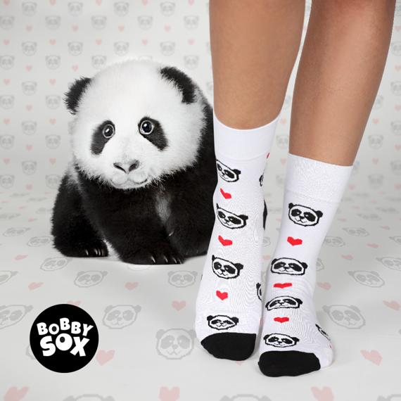Skarpety białe Panda Love Bobby Sox