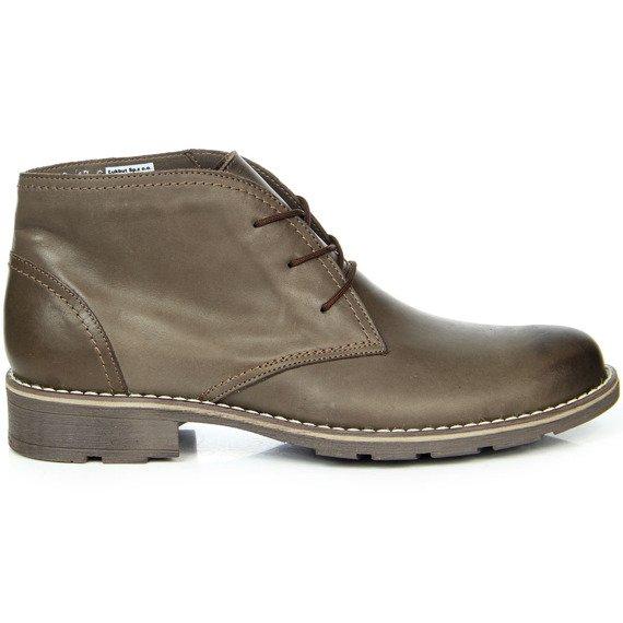 Skórzane buty męskie ocieplane sznurowane brązowe Łukbut 810