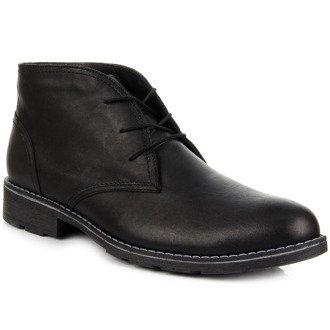 Skórzane buty męskie ocieplane sznurowane czarne Łukbut 810