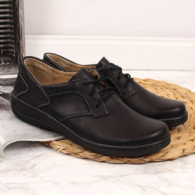 Skórzane półbuty damskie lekkie komfortowe Helios 715 czarne