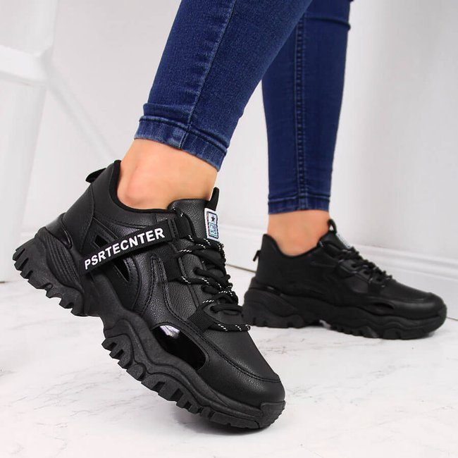 Sneakersy damskie na grubej podeszwie czarne NEWS