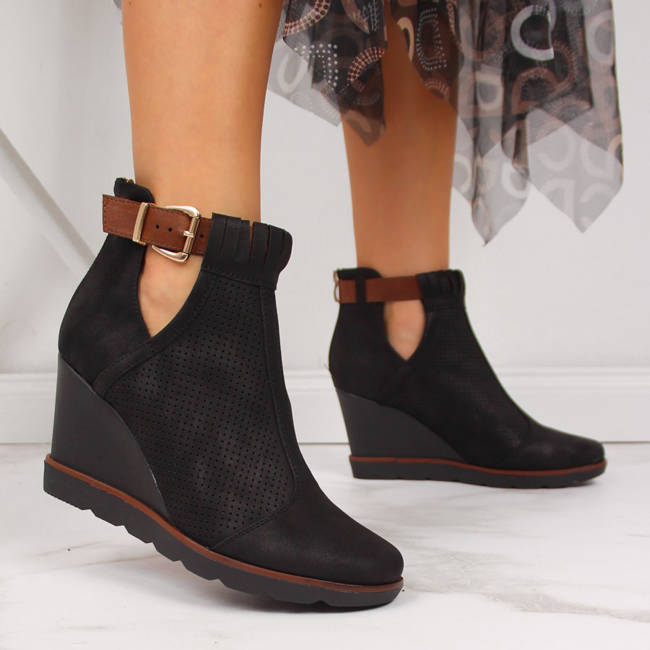 Sneakersy damskie na koturnie ażurowe czarne Filippo