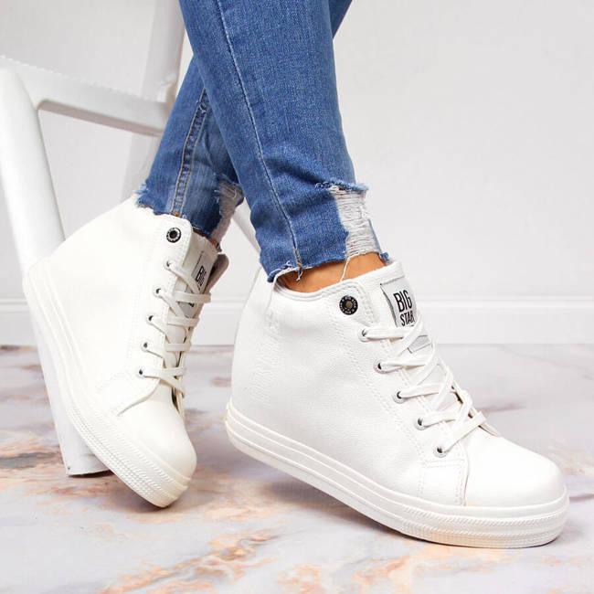 Sneakersy damskie na koturnie białe Big Star EE274128