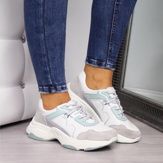Sneakersy skórzane na platformie białe Vinceza