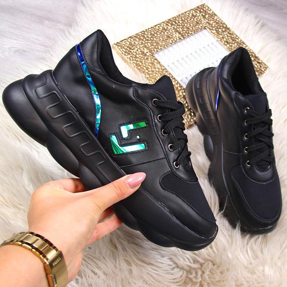 Sneakersy damskie na platformie czarne Lu Boo