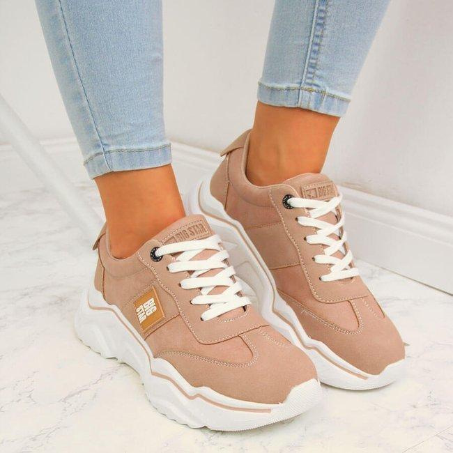 Sneakersy damskie na platformie różowe Big Star GG274210
