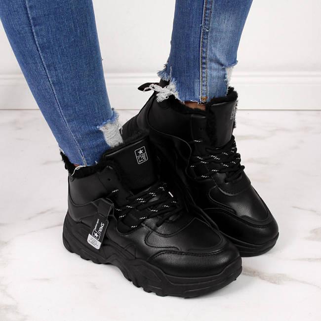 Sneakersy damskie ocieplane na grubej podeszwie czarne NEWS