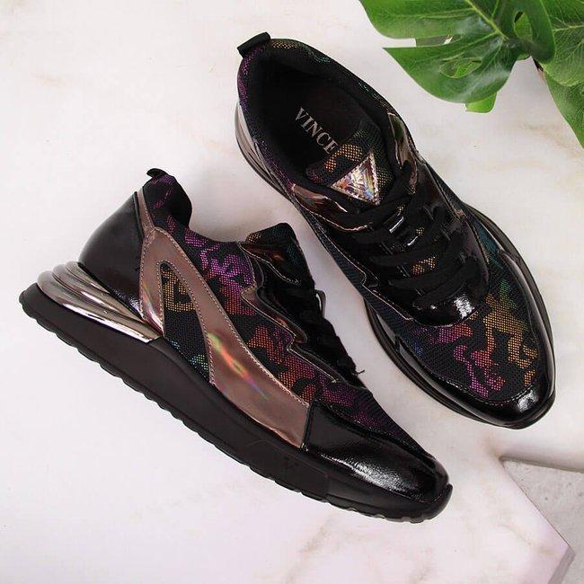 Sneakersy damskie opalizujące czarne Vinceza