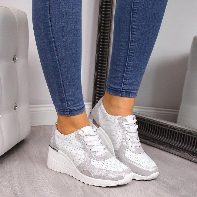 Sneakersy damskie skórzane ażurowe białe S.Barski