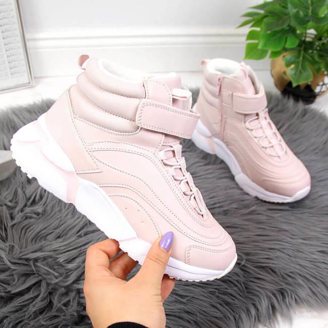 Sneakersy dziewczęce ocieplane różowe American Club