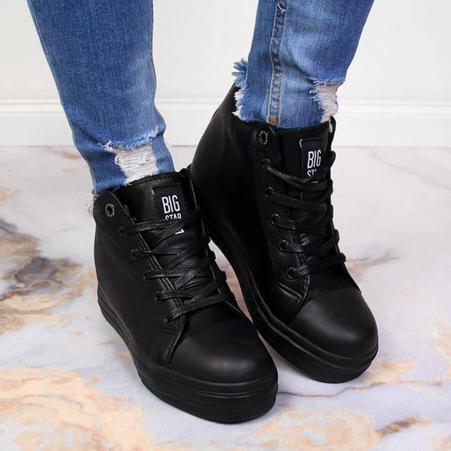Sneakersy na koturnie damskie czarne Big Star