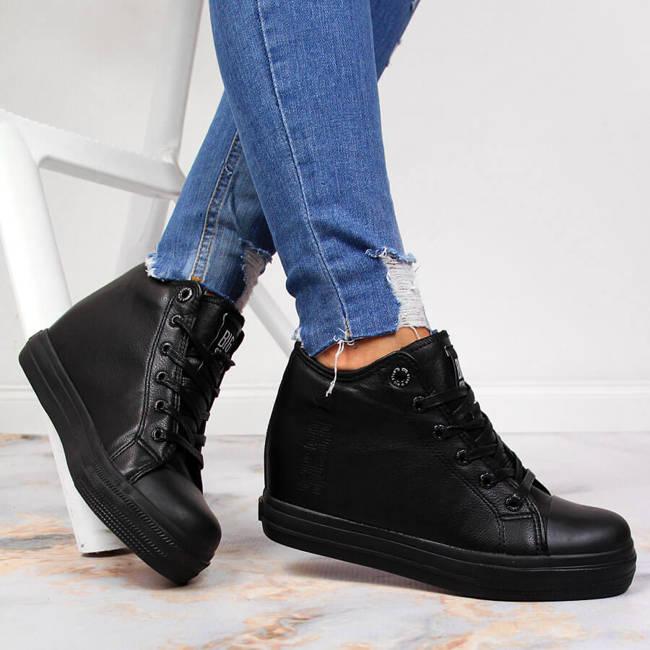 Sneakersy na koturnie damskie czarne Big Star EE274127