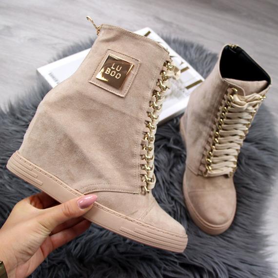 Sneakersy na koturnie z łańcuchem beżowe Lu Boo