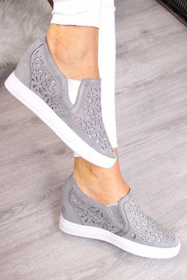 Sneakersy półbuty na koturnie ażurowe szare Jezzi