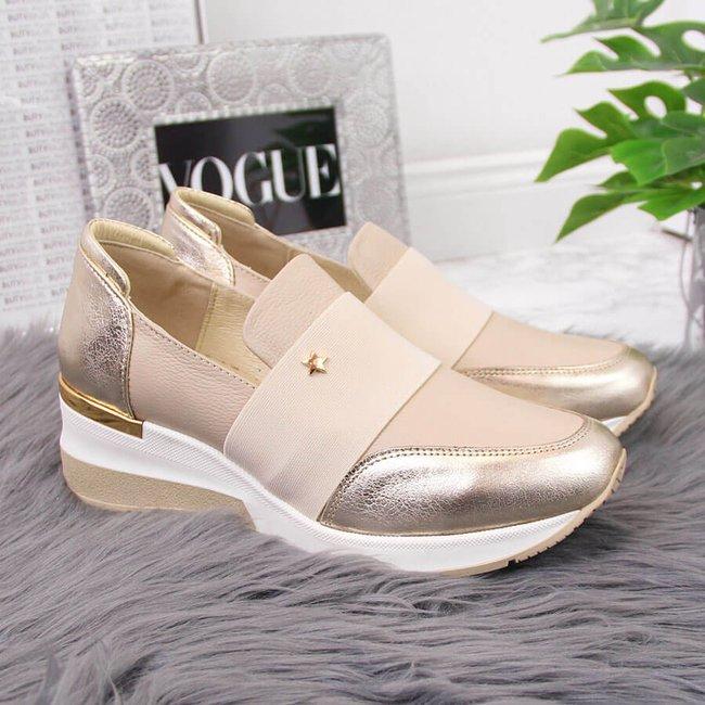 Sneakersy skórzane damskie na koturnie beż Natalii Brat But
