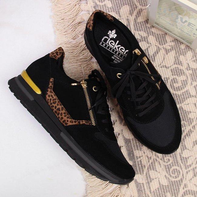 Sneakersy skórzane damskie na zamek czarne Rieker N7809