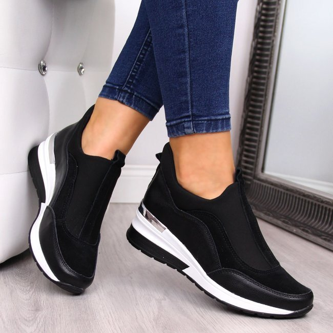 Sneakersy skórzane na koturnie czarne Vinceza
