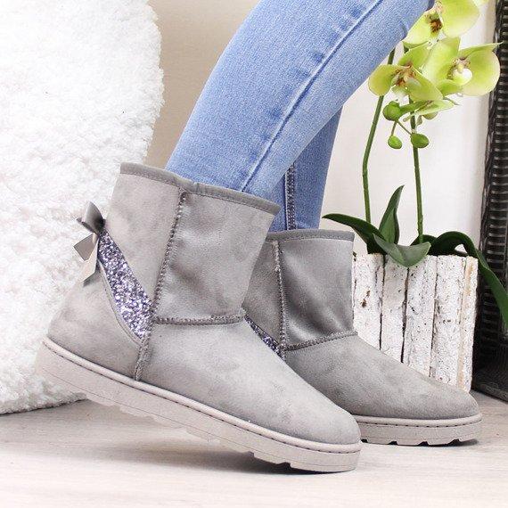 Śniegowce damskie mukluki z brokatem szare Vices