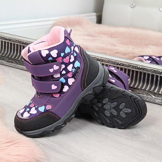 Śniegowce dziewczęce wodoodporne na rzep fioletowe
