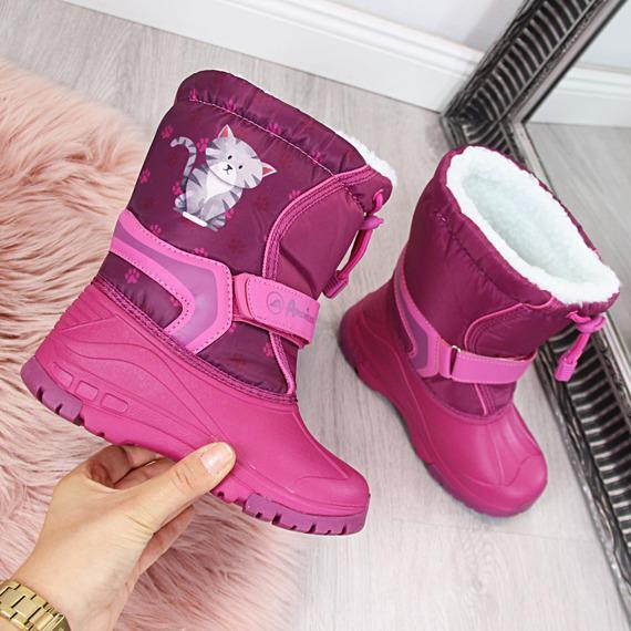 Śniegowce dziewczęce wodoodporne różowe American Club