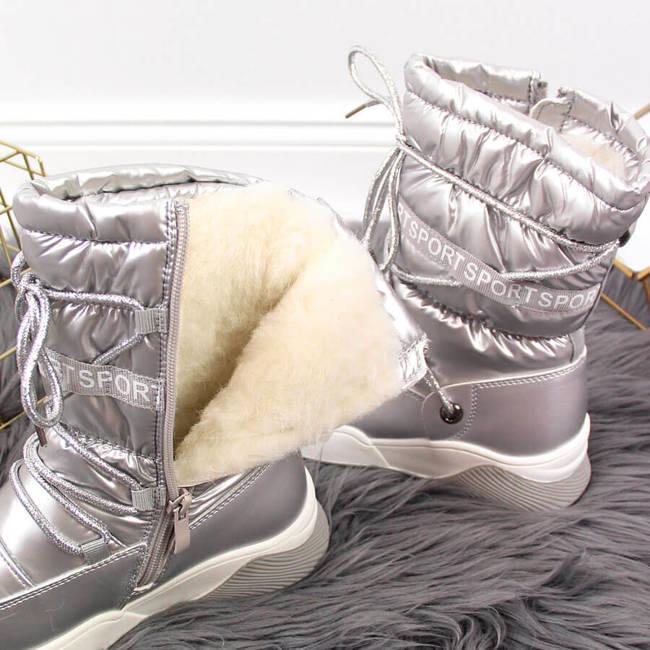 Śniegowce dziewczęce wodoodporne srebrne Miss❤E