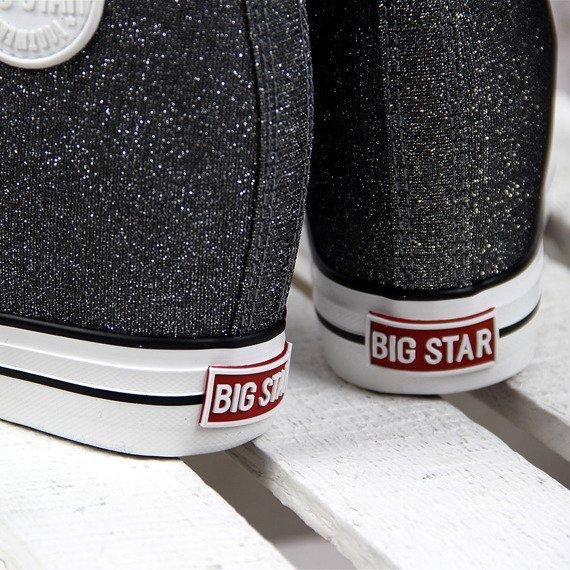 Srebrne trampki damskie połyskujące koturn Big Star W274675