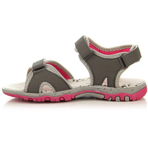 Szare sandałki sportowe na rzepy Hasby