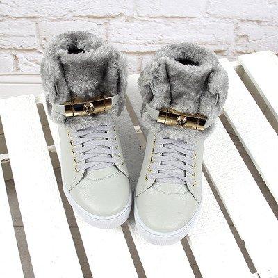 Szare sneakersy na koturnie z futerkiem Lu Boo