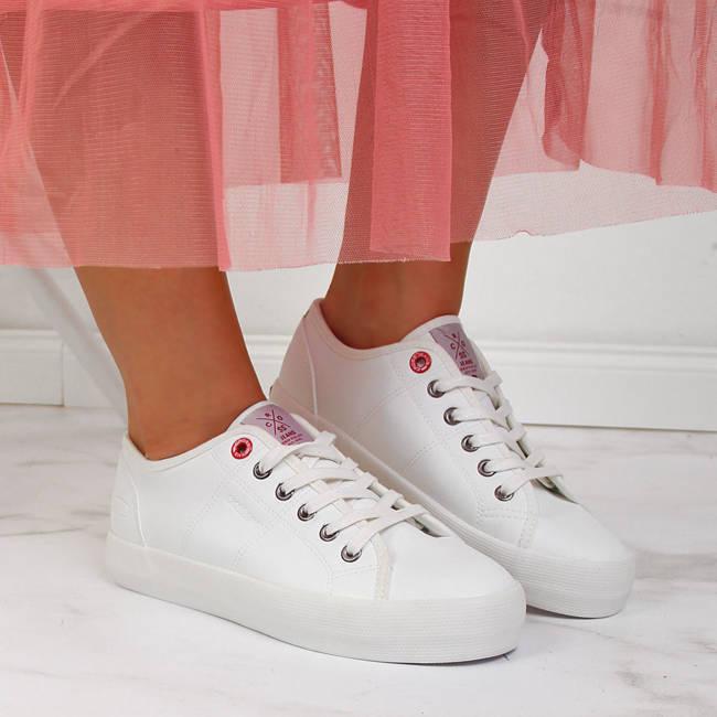 Trampki damskie niskie z eko skóry białe Cross Jeans II2R4004C