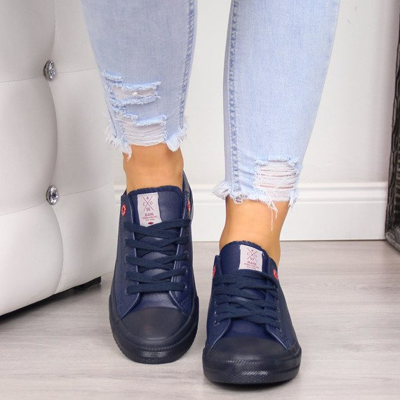 Trampki niskie eko skóra granatowe Cross Jeans