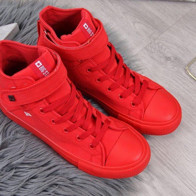 Trampki wysokie tekstylne na rzep czerwone Big Star FF274580