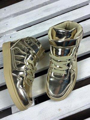 Złote buty sportowe metaliczne Lu Boo
