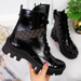 Workery skórzane damskie lakierowane czarne Juma
